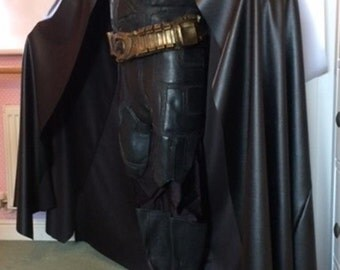 Batman Dawn of Justice style cape cloak in black leatherette, highly rated by fans, fast dispatch, customise your way