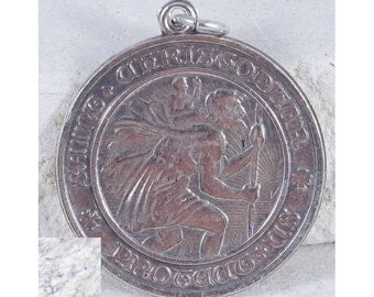 Saint Christopher Protect Us Vintage Sterling Religious Medal Pendant on 18 inch sterling silver rolo chain
