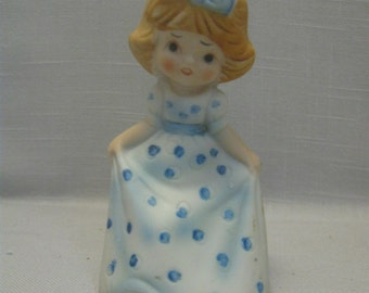 Porcelain Bisque Jasco Bell Girl With Blue And White Dress 1979