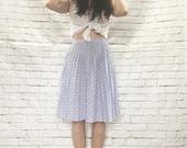 Vintage 80s Art Deco Print Pleated Skirt XS High Waist Swing Knee Length Lavender Gray