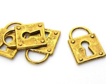 Charms : 10 Antique Gold Vintage Skeleton Key Lock Charms   Steampunk Locks 15x11mm -- Lead, Nickel & Cadmium Free 14179.H2D
