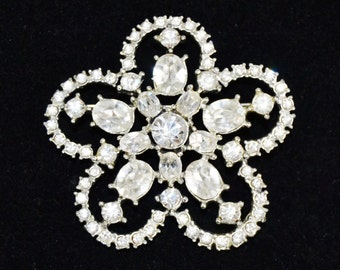 Vintage Large Flower Brooch with Clear Rhinestones