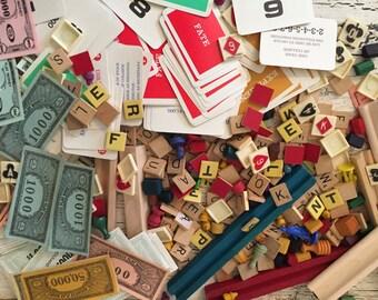 Vintage Game Piece Lot - Scrabble, Wooden Game Tokens, Paper Money