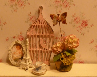 Miniature Shabby Chic Birdhouse Wall Art for Dollhouse
