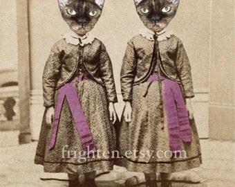 Devon Rex Art, Cats in Clothes, Cats in Dresses, Cat Art Print, 8x10 Print, Creepy Twins Art, Collage Art, Twin Sisters, Sister Art