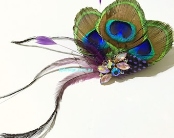 Peacock Wedding Fascinator, Boho Bridal Headpiece, Purple Feather Hair Clip, Upcycled Vintage Hair Jewelry, Bohemian Wedding Gift for Her