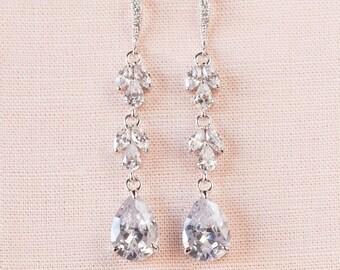 Long Bridal Earrings, Rose Gold Wedding Earrings, Wedding jewelry, Dangle Bridesmaid Earrings, Melonie Earrings