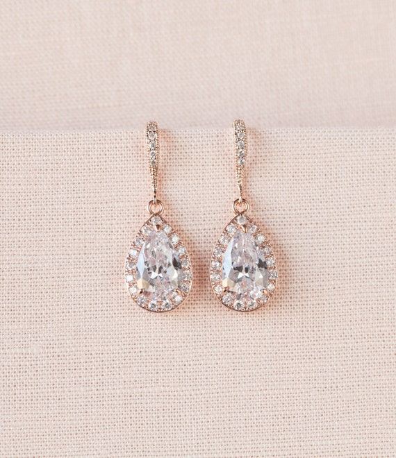 crystal bridal earrings rose gold wedding jewelry swarovski. Black Bedroom Furniture Sets. Home Design Ideas