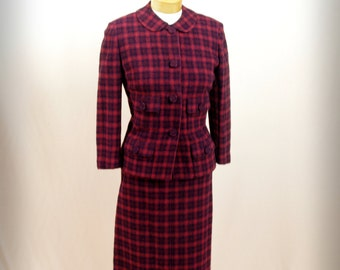 1960s Wiggle Skirt * Red Plaid Suit * 60s Suit * Wool Suit * Red Suit * 1960s Suit * Mad Men Suit * Davidow