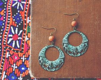 bohemian tribal patina hoop earrings.