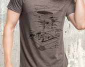 Men's Vinyl Turntable Diagram T-Shirt - American Apparel Men's Tri-Blend T-Shirt