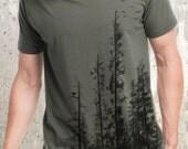 Men's Pine Tree Forest T-Shirt - Screen Printed Men's T-Shirt - American Apparel