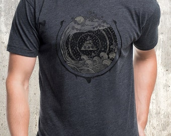 Men's T-Shirt - Serpents & Water Illustartion  - Screen Printed Men's American Apparel T-Shirt