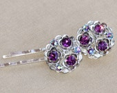 AUTHENTIC Vintage Amethyst Purple Jeweled Bobby Pin Duo,Set of Two,Rhinestone Hair Pins,Weddings,Bridesmaids,Plum Purple Gold Bobbies,Signed
