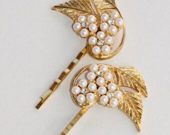 Vintage Gold Leaf Rhinestone Pearl Hair Pins,Large Designer Vintage Earring,Crystal Hair Pins,Set of Two,Weddings,Something Old,Large,Ivory