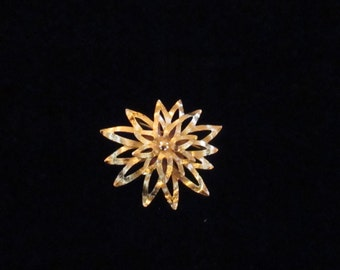 Vintage Monet Brooches Pins Costume Jewelry Pins Starburst Design Brushed Goldtone Pin YourFineHouse SHIPSWORLDWIDE