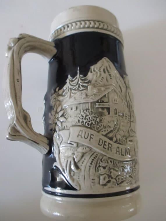 vintage ceramic beer stein ale steins auf der alm by yourfinehouse