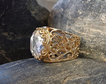 Clear Swarovski Filigree Ring, Gold Filigree Ring, Swarovski Halo Ring, Clear Rhinestone Ring, Large Gemstone Ring, Women's Wide Gold Ring