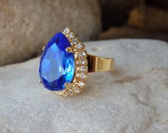 Blue and clear Swarovski ring, Adjustable gold Swarovski ring, Blue teardrop crystal ring, Something blue, Blue Gemstone Ring, Drop shape