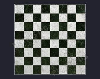 "Marble Chess Board Floor Mat, 36"" x 36"""