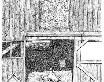 Barn with Geese, 8x10 print