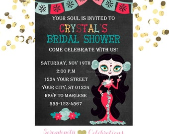 Day of the Dead, Sugar Skull Invitation, Chalkboard Invitation,  Printed Invitation, Bridal Shower, Halloween Invite, Day, Birthday Invite
