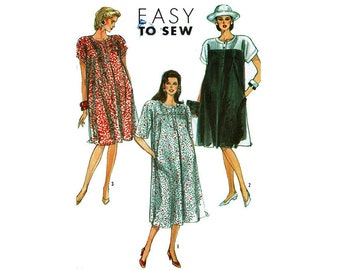 Maternity Dress Sizes 18 20 22 24 26 Uncut 1980s Sewing Pattern Simplicity 9172 Easy to Sew fashion for expecting mothers baby mama 80s