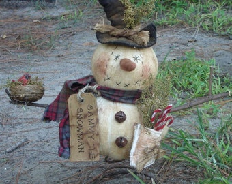 Primitive Sammy Snowman nodder on rusty spring Mailed Pattern