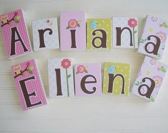 Baby Name Blocks . Twins Name Blocks . Twins Nursery . Twins . Dena happi Tree. Baby name blocks. Baby Name Sign .  Floral Nursery . Owl