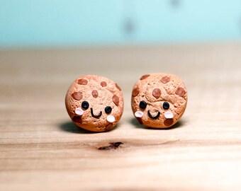 Chocolate Chip Cookie Post Earrings - Kawaii