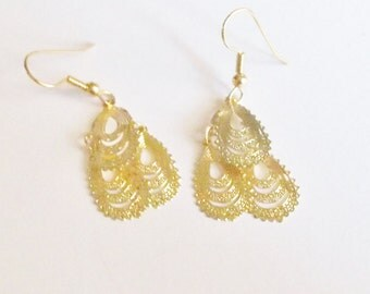 Earrings Handmade Goldtone Restyled Gift for Her Bridal Party Prom Mother's Day OOAK