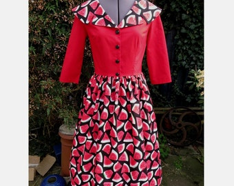 watermelon dress 50s style  twofer dress 1950s dress