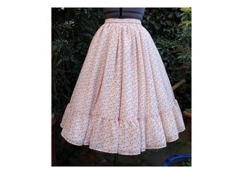 1950s style tea length peachy pink chiffon skirt with chickens one of a kind