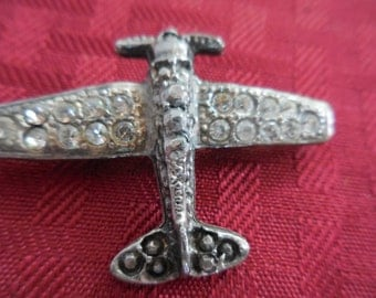 Vintage Silver Tone Airplane With Rhinestones 1950s to 1960s Brooch/Pin Propeller