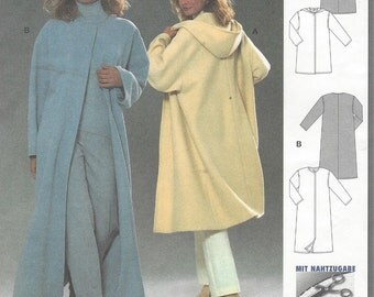 90s Womens Hooded Coat, Knee or Above Ankle Burda Sewing Pattern 8878 Size 10 12 14 16 18 20 22 24 Bust 32 1/2 to 46 UnCut