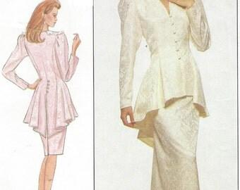 80s Jessica McClintock Gunne Sax Womens Peplum Top & Skirt Simplicity Sewing Pattern 8947 Size 8 Bust 31 1/2 UnCut Mother of the Bride
