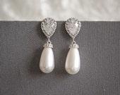 Swarovski Pearl Wedding Earrings, Crystal Bridal Earrings, Teardrop Dangle Earrings, Pearl Drop Earrings, Cubic Zirconia Earrings, MARJETA