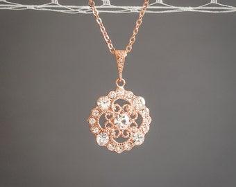 Rose Gold Bridal Necklace, Crystal Pendant Necklace, Art Deco Rhinestone Filigree Wedding Necklace, Vintage Style Bridal Jewelry, DEVANA