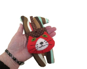 Kitten Softie Cat Art Doll Chocolate Brown White Teal Blue Red Mike Kitten
