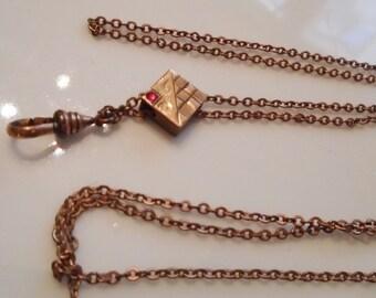 Victorian Watch Chain Gold Fill Ruby Paste Slide Swivel 1880s