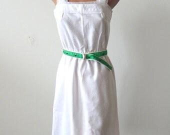 Vintage 1970s White Linen Look Sun Dress with Whale Belt Sz S