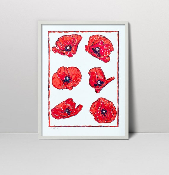 Handmade Screen Print Painting Poppy Flowers Serigraph