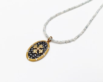 Stunning Silverite Beaded Necklace with Gold Vermeil Sterling Silver Maltese Cross Shield Pendant