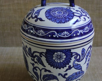 Blue and White Chinoiserie Floral Lidded Urn--Asian Floral Ceramic Jar--Vintage Chinoiserie