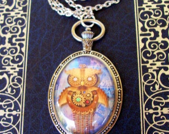 Steampunk Owl Pendant (N605) - Graphic Under Glass - Oval Faux Pocket Watch Frame - Silver Chain