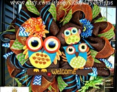 Brown Welcome Owl Wreath