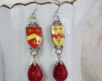 To the Manor Born- Antique Enamel English Castle Coat of Arms Earrings- Red, Yellow, Silver- Red Jade Stone Drops- Sterling Silver