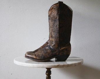 Cowboy Boots - 5 5.5 Women's - Brown Leather Calico - 1980s Vintage