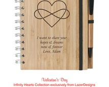 Custom Engraved Valentine's Bamboo Notebook with Pen - Personalized Natural Wood Notebook- Graduation Gift - Corporate Logo Engraved Gift
