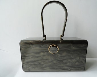 1950s VINTAGE WILARDY MARBLED Lutice Handbag |Wilardy Lucite Top Handle Purse with Ornated Clasp|Wilardy Signature Lucite Purse